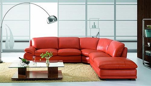 красная кожаная мебель