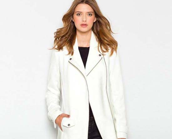 белое пальто из полиэстера